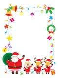 Jultomten, hund & ren, gräns & bakgrund Royaltyfri Foto