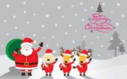 Jultomten, hund & ren, jultext Vektor Illustrationer