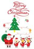 Jultomten, hund & ren, jultext Royaltyfri Bild