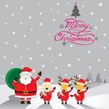 Jultomten, hund & ren, jultext Royaltyfri Illustrationer