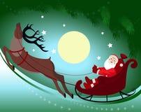Jultomten i en släde och en ren Royaltyfri Foto