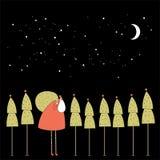 Jultomten i nattskogen. Royaltyfri Foto