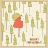 Jultomten i skogen. Royaltyfri Bild