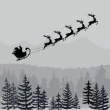 Jultomten i slädekontur Monokromt julbaner stock illustrationer