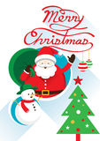 Jultomten, jul text & snögubbe Royaltyfri Illustrationer