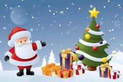 Jultomten julgran stock illustrationer