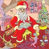 Jultomten läser till den lilla älvan Arkivbild
