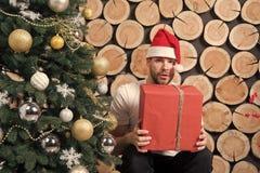 Jultomten man med asken på xmas-trädet arkivbilder