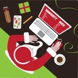 Jultomten matar in hans stygga eller trevliga lista stock illustrationer