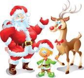 Jultomten med älvan och renen Royaltyfri Bild