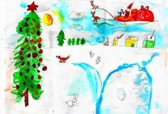 Jultomten med deers, räven, snö och julträdet, barnteckning royaltyfri illustrationer