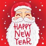 Jultomten med en buskigt mustasch och skägg royaltyfri illustrationer