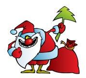 Jultomten med ett galet leende Arkivfoton