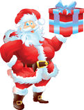 Jultomten med gåva Arkivfoton