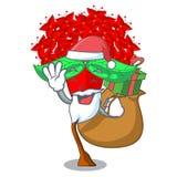 Jultomten med gåvablommaixoraen som isoleras med maskot vektor illustrationer