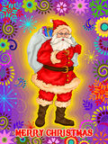 Jultomten med gåvan i glad jul semestrar berömbakgrund Fotografering för Bildbyråer