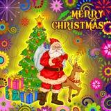 Jultomten med gåvan i glad jul semestrar berömbakgrund Royaltyfri Fotografi