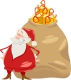Jultomten med gåvatecknad filmillustrationen Arkivfoton
