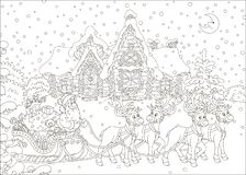 Jultomten med gåvor i hans pulka royaltyfria foton