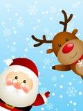 Jultomten med hjortar Fotografering för Bildbyråer