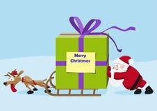 Jultomten med hjortar flyttar en tung gåva vektor illustrationer