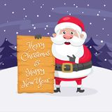 Jultomten med jul som hälsar tecknet Arkivfoton