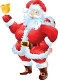 Jultomten med klockan Royaltyfria Bilder