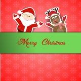 Jultomten med renen och glad jul Royaltyfri Foto