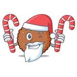 Jultomten med tecknade filmen för maskot för godischoklad den ljusbruna vektor illustrationer