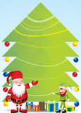 Jultomten och älva med julgranen - illustration Arkivbild