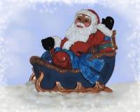 Jultomten och den stora släden Royaltyfri Bild
