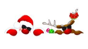Jultomten och en ren i solglasögon 1 royaltyfri bild