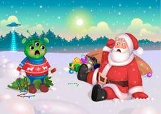 Jultomten och främling, lyckligt nytt år, vykort, vektor stock illustrationer