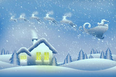 Jultomten och hans renfluga över ett hemtrevligt hus Fotografering för Bildbyråer