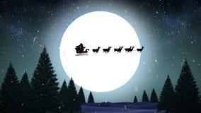 Jultomten och hans släde som flyger över snöig skog