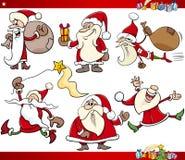 Jultomten och jultecknad filmuppsättning stock illustrationer