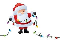 Jultomten och ljus royaltyfri illustrationer