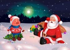 Jultomten och Piggy lyckligt nytt år av svinet, vykort stock illustrationer