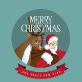 Jultomten och ren i en cirkel royaltyfri illustrationer
