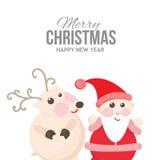 Jultomten och ren på ett gladlynt feriekort Arkivfoto