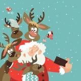 Jultomten och renar tar en selfie stock illustrationer