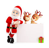 Jultomten och renen framlägger glad jul Royaltyfri Foto