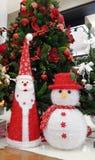 Jultomten och snögubbejul Royaltyfria Bilder