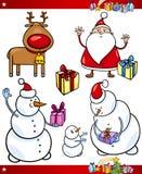 Jultomten och uppsättning för jultematecknad film royaltyfri illustrationer