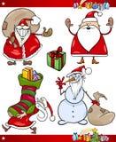 Jultomten och uppsättning för jultematecknad film stock illustrationer