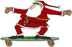 Jultomten på en skateboard Royaltyfri Bild