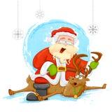 Jultomten på ren i julbakgrund Arkivbild