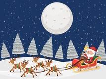 Jultomten på släde med renar snöar nattplats vektor illustrationer