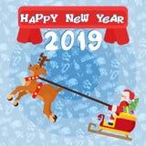 Jultomten på slädeaffischen för det glade nya året stock illustrationer