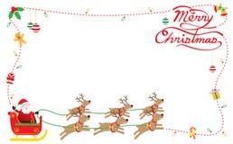 Jultomten, renar, ram & bakgrund Stock Illustrationer